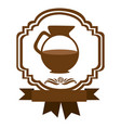 brown border heraldic decorative ribbon with jar vector image