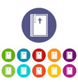 church icons set flat vector image