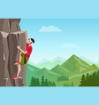 rock climbing man male on the rock extreme vector image