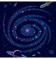 Cosmic background galaxy and spaceships vector