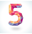 Number five in modern polygonal crystal style vector image