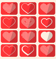 Retro Hearts Set on Red Rounded Squares vector image vector image