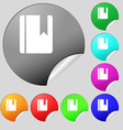 book bookmark icon sign Set of eight multi-colored vector image