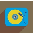 Flat web icon with long shadow retro turntable vector image