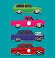 hotrod flat old school race car set vector image