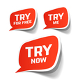 Try Now Try For Free and Try Me speech bubbles vector image
