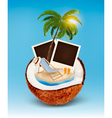Vacation concept Palm tree photos and beach chair vector image