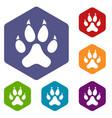 cat paw icons set hexagon vector image