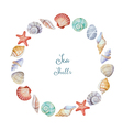 Watercolor round frame of sea shells vector image