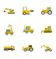 building machine icon set flat style vector image