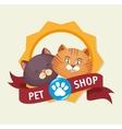 pet shop badge foot print kitten vector image