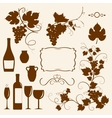 Winery design objects silhouettes vector image