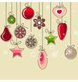 Hanging christmas decorations vector image