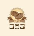 coffee bean and mug premium sign logo vector image