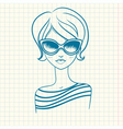Fashionable girl in sunglasses Drawn by hand vector image