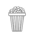 line delicious and salty popcorn to eat in the vector image