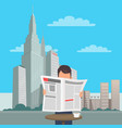 man with newspaper at table on cityscape vector image