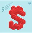 plastic blocs letter s vector image
