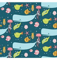 Seamless pattern with underwater scene vector image