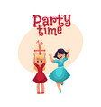 two girls having fun at birthday party dancing vector image
