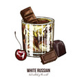 white russian cocktail with cherry and chocolate vector image
