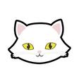 White cat kitty yellow eyes animal cute vector image