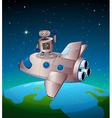 A robot above the spaceship vector image