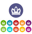 queen crown icons set flat vector image