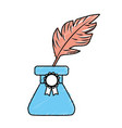 cute inkpot with feather to writing manuscript vector image