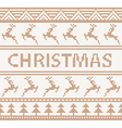 Christmas knitted pattern with deers vector image