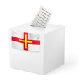 Ballot box with voting paper Guernsey vector image
