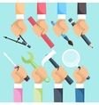 Hands with construction tools vector image