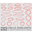 Red Hand Drawn Circles Rounds Bubbles Set vector image