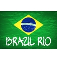 brazil flag over green background vector image