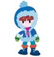 Cute boy in winter clothes vector image