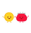 funny smiling cute gold coin and red vector image