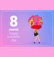girl holding tulips flowers and red hearts happy vector image