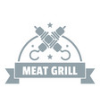 meat grill logo simple gray style vector image