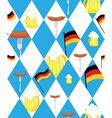 Oktoberfest background Mug of beer and sausage vector image