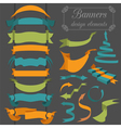 Set of retro ribbons and arrows banner vector image