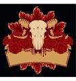 skull sheep roses vector image vector image
