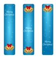 Christmas set of three vertical blue banner with vector image