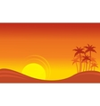 At sunset scenery on seaside with palm silhouettes vector image