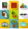 Left country icons set flat style vector image
