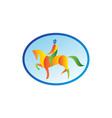 Equestrian Rider Dressage Oval Retro vector image vector image