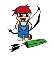 Anime cartoon boy with bow and arrow vector image