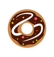 chocolate donut icon flat style vector image