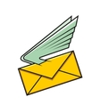 Envelope with wings symbol of fast delivery vector image