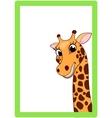 Giraffe Cartoon On Frame vector image