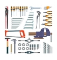 set of working tools in flat style Design vector image